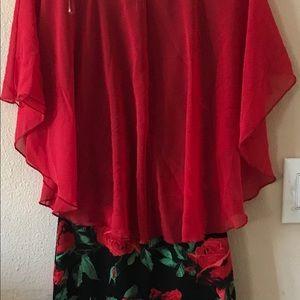 Red & Black Chiffon/Mixed Floral Dress